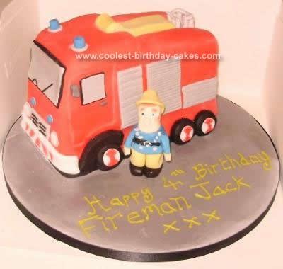 Homemade Fireman Sam and Jupiter Cake