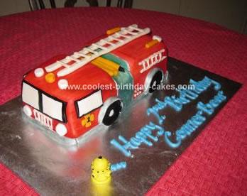 Homemade  Firetruck Birthday Cake