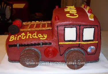 Homemade Firetruck Birthday Cake I Made This For A 3 Year Old Little Boy