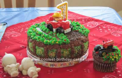 Homemade First Birthday Barnyard Fun Cake