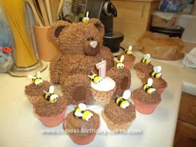 Homemade First Birthday Bear Cake