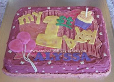 Miraculous Cool Homemade Purple First Birthday Cake Funny Birthday Cards Online Overcheapnameinfo