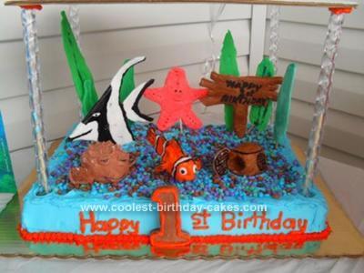 Homemade First Birthday Finding Nemo Cake