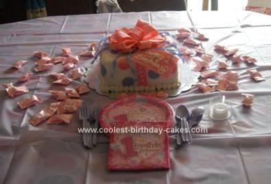 Homemade First Birthday Gift Box Cake