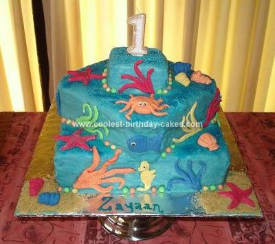 Homemade  First Birthday Under the Sea Cake