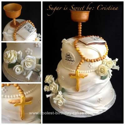 Homemade First Communion Cake