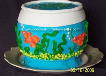 Homemade Fish Bowl Birthday Cake