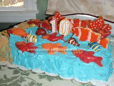 Homemade Fish Ocean Birthday Cake