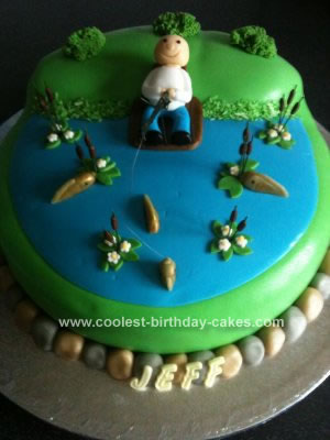 Pleasant Cool Homemade Fondant Fishing Birthday Cake Personalised Birthday Cards Epsylily Jamesorg