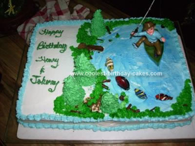 Fantastic Cool Homemade Fishing Birthday Cake With Fish Candies Personalised Birthday Cards Epsylily Jamesorg
