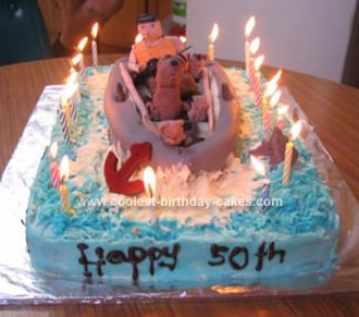 Admirable Cool Homemade Fishing Birthday Cake With Dinghy Personalised Birthday Cards Epsylily Jamesorg