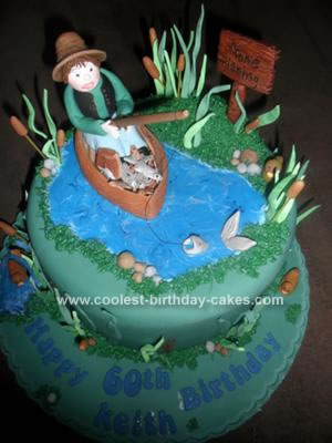 Homemade Fishing in a Boat Cake