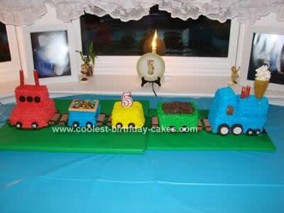 Homemade Five Car Train Birthday Cake