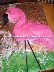 Homemade Pink Flamingo Birthday Cake