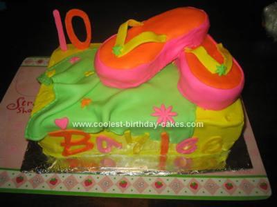 Homemade Flip Flop Birthday Cake