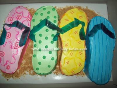 Homemade Flip Flops Birthday Cake