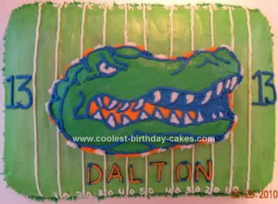 Homemade Florida Gator Birthday Cake