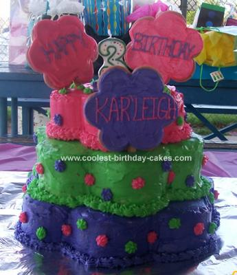 Groovy Coolest Homemade 3 Tiered Flower Cake With Flower Cookies Funny Birthday Cards Online Alyptdamsfinfo