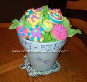 Homemade Flower Pot  Birthday Cupcakes