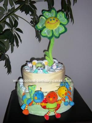 Homemade Flower Power Diaper Cake