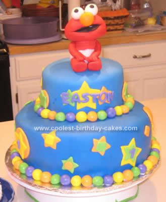 Homemade  Fondant Elmo Birthday Cake