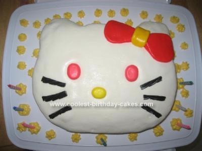Homemade Fondant Hello Kitty 6th Birthday Cake