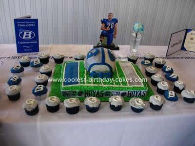 Homemade Football Field & Helmet Cake