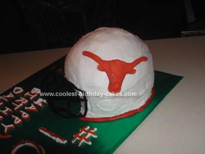 HomemadeTexas Longhorn Helmet Birthday Cake