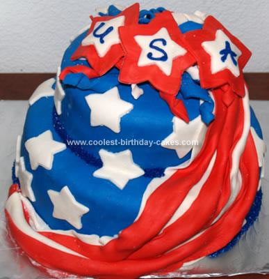 Homemade Fourth of July Flag Cake