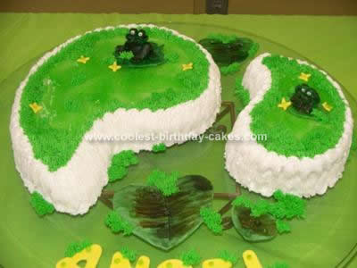 Homemade Frogs in Swamp Birthday Cake