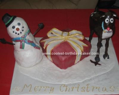 Homemade Frosty And Rudolph Christmas Cake