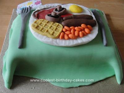 Homemade Full English Breakfast Birthday Cake