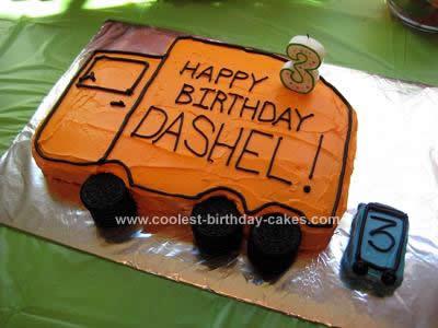 Homemade Garbage Truck Birthday Cake