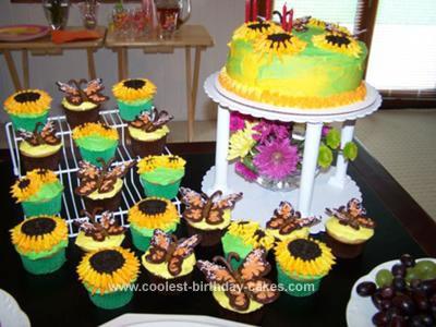 Homemade Garden Party Birthday Cake and Cupcakes
