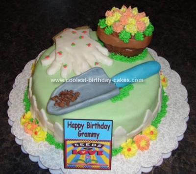 Homemade Garden Tools Cake
