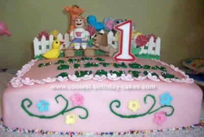 Homemade Garden With Animals Birthday Cake