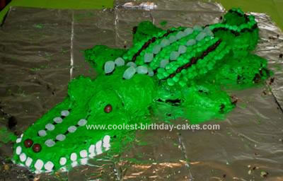 Super Cool Homemade Gator Birthday Cake Personalised Birthday Cards Veneteletsinfo