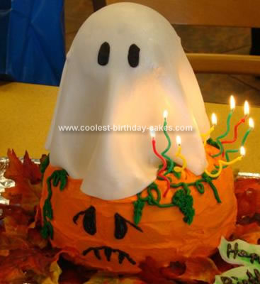 Homemade Ghost and Pumpkin Cake
