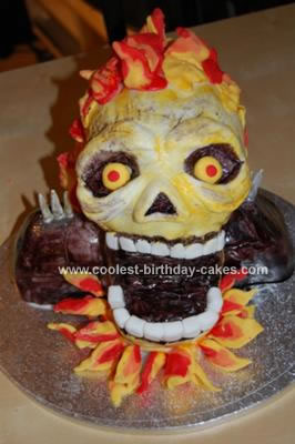 Homemade Ghost Rider Birthday Cake