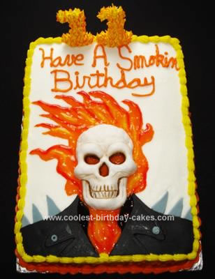 Homemade Ghost Rider Cake