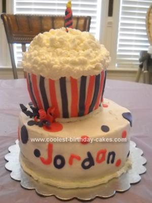 Homemade Giant Cupcake Birthday Cake