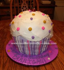 Wondrous Cool Homemade Giant Cupcake Cake Funny Birthday Cards Online Sheoxdamsfinfo
