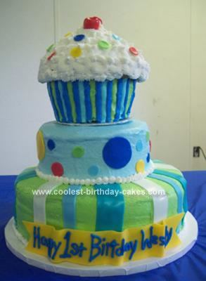 Cool Homemade 3 Tier Giant Cupcake Cake
