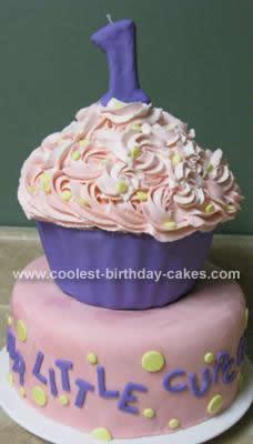 Homemade Giant Cupcake First Birthday Cake Idea