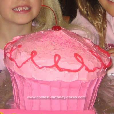 Homemade Giant Pink Cupcake Cake