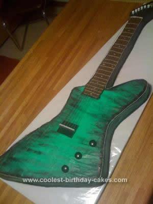 Homemade Gibson Green Electric Guitar Cake