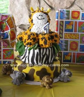 Homemade Giraffe Safari Birthday Cake