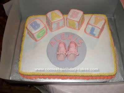 Homemade  Girl Baby Block Shower Cake