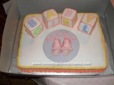 Homemade  Girl Baby Block Shower Cake