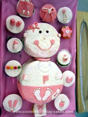 Homemade Girl Baby Shower Cake & Cupcakes
